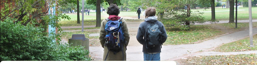 Two students walking to class