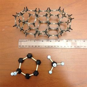 Ball and stick models of three molecules